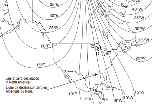 Declination lines in North America