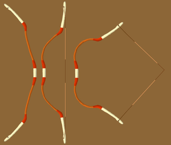 Bow shape when unstrung, strung, and drawn