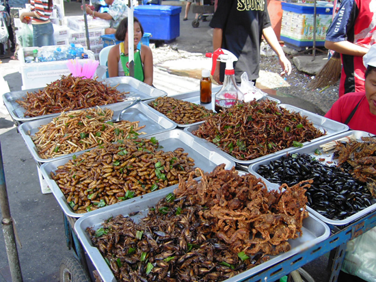 Various types of insects and bugs for sale to eat in a foreign market