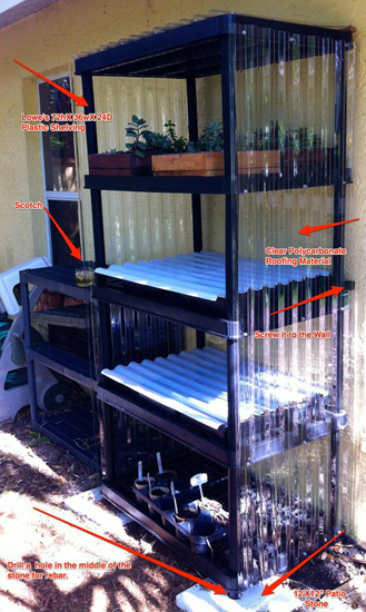 Mini-greenhouse out of shelving unit and polycarb roofing material