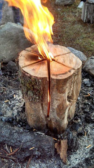 Swedish Fire Torch (aka Canadian Cancle) - simple fire using a single log