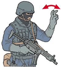 Hand signal for column formation