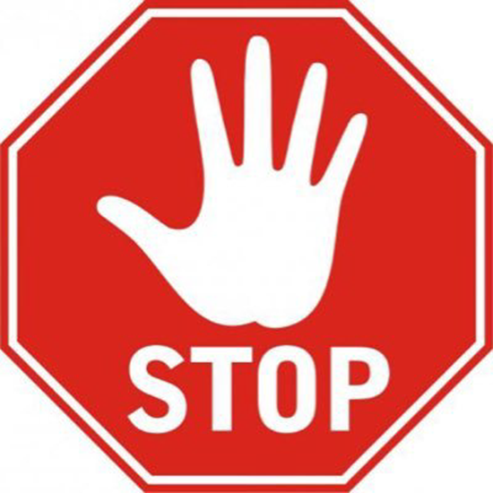 Red stop hand