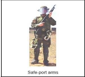 Safe-port arms show of force carrying position